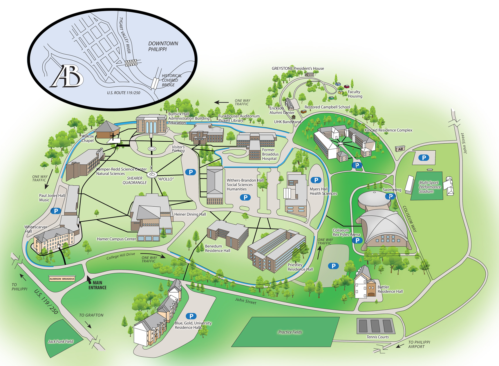 Campus Map Visitor Student Residence Hall Chapel Parking